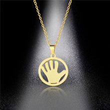 Golden Palm Necklace Female Round Titanium Steel Geometric Slap Pendant Long Sweater Chain Pendant round geometric cut out arm chain