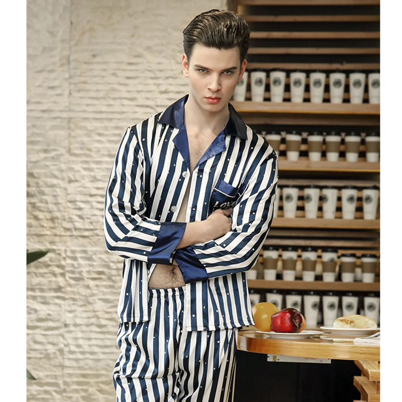 2018 Men Satin Silk Sleepwear Set Blue And White Striped Long Sleeve And Pants Home Clothes Male Sexy Luxurious Pajamas Spring