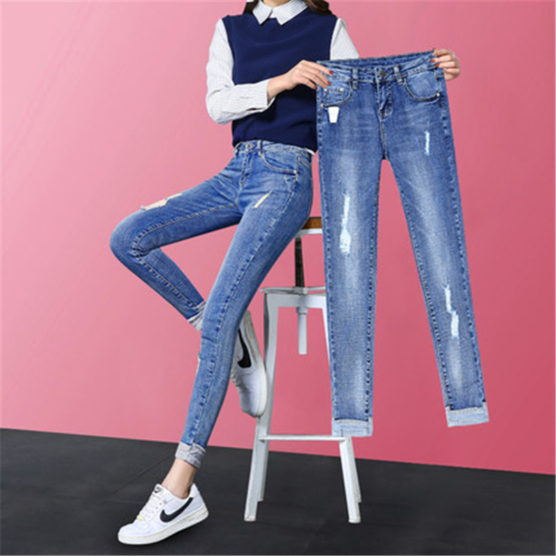 Women's Clothing Of Large Size Fashion Autumn Female Casual Streetwear Jeans With Hole Elegant Denim Trousers LWL489