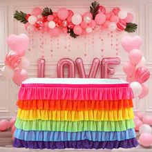 6-слойное бальное платье многоцветный Скатерти покрытие стола прямоугольник Юбка для стола Свадебные праздничные День рождения Декор