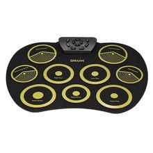 Портативная электронная барабанная установка складной барабан набор 9 силиконовых подушечек с usb-питанием с педалями для ног барабанные палочки USB кабель