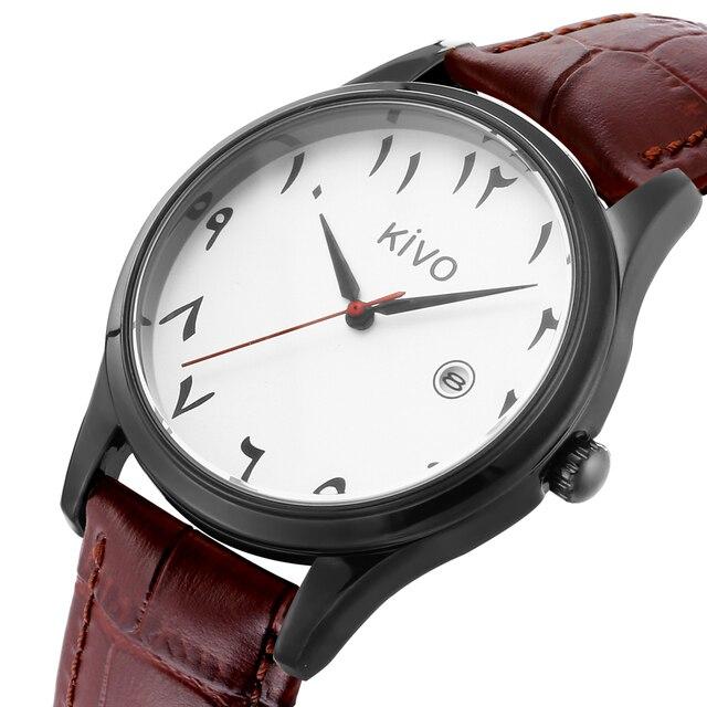 Часы с арабскими цифрами, отображение даты, водонепроницаемые, исламские наручные часы, кварцевый механизм с кожаным ремешком