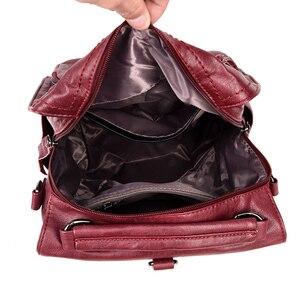Image 4 - 2020 frauen Leder Rucksäcke Schule Taschen Für Teenager Mädchen Multifunktions Frau Schulter Tasche Weibliche Reise Rucksack Sac A Dos