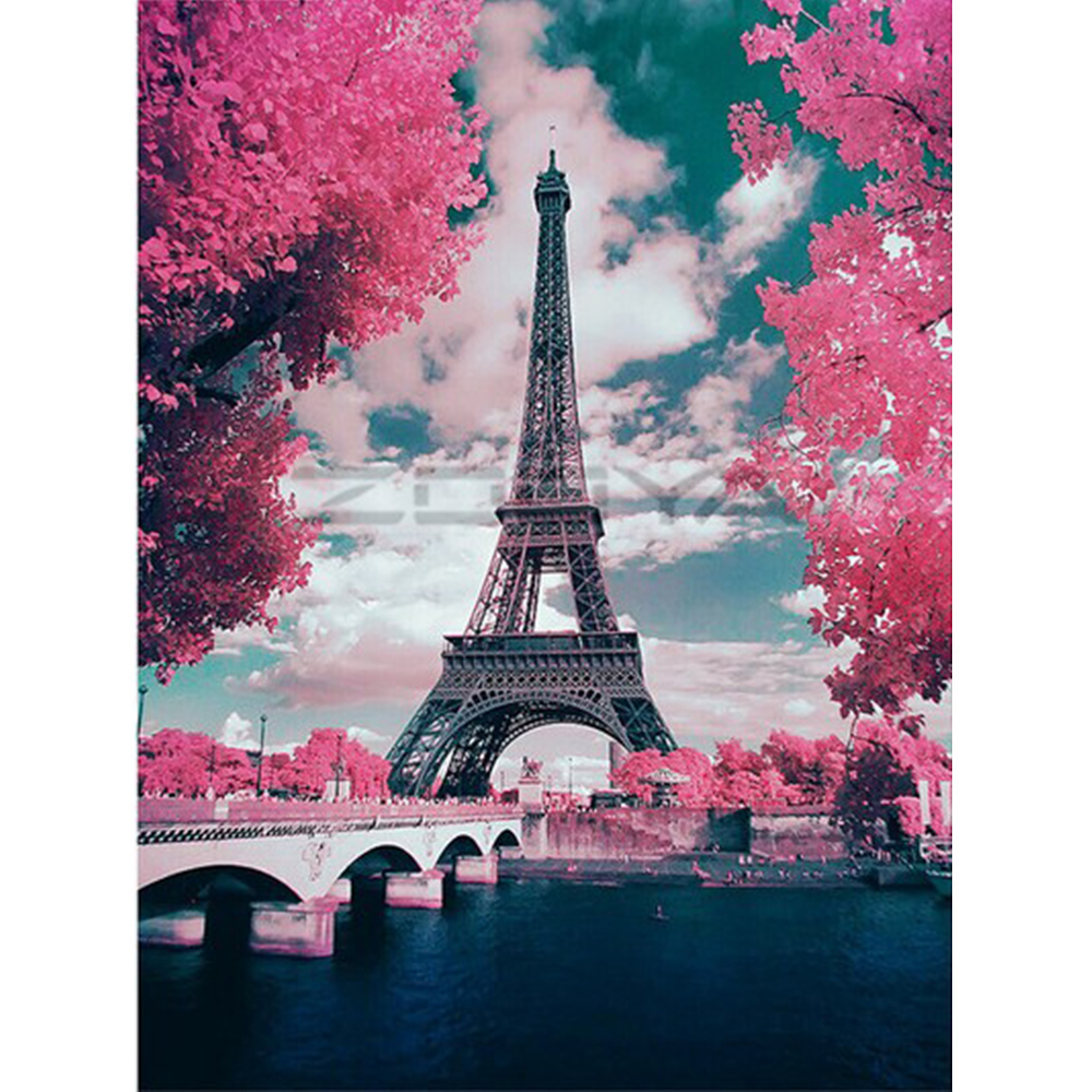 DIY Paris Tower Picture Arcylic Painting By Numbers On Canvas Framed Wall Pictures Art For Living Room Home Decoration
