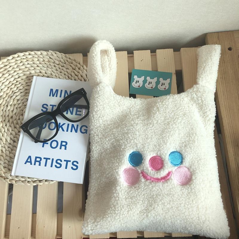 Winter Cartoon Handbags Plush Shoulder Bag  Cute Face Embroidery  Hand Bag  Women White Color Ladies Bag Tote Size 28*30cm Tote
