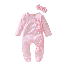 Одежда для новорожденных; милый теплый Модный комбинезон в горошек с длинными рукавами для маленьких девочек и мальчиков; повязка на голову; одежда для малышей