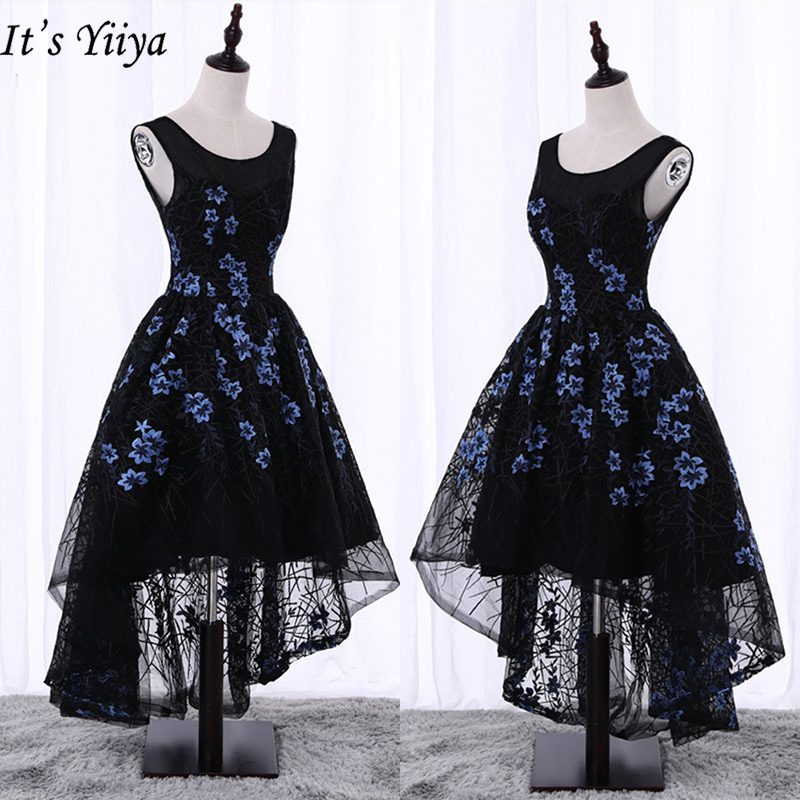 It's YiiYa Cocktail Dresses Sexy Sleeveless Backless Lace Up Knee Length Dress Elegant Embroidery Party Night Formal Dress X070