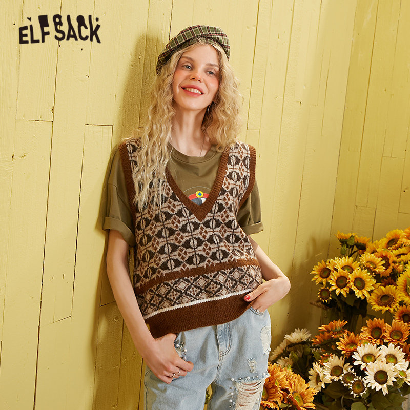ELFSACK Black Argyle Weave Knit Pullover Women Sweater Vest 2020 Spring Brown Vintage V Neck Sleeveless Casual Ladies Daily Top