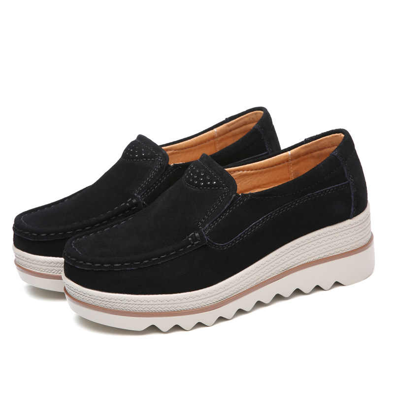 Kwaliteit Vrouwen Flats Schoenen Platform Sneakers Slip Op Flats Leer Suede Dames Loafers Mocassins Lente Casual Schoenen Creepers