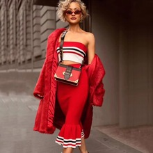 wholesale 2020 New 2 Piece Set red Strapless top&bandage ski