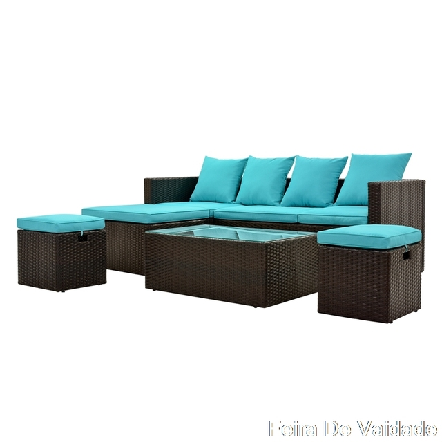 5-Piece Patio Furniture Set with Glass Table and Adjustable Chair 3