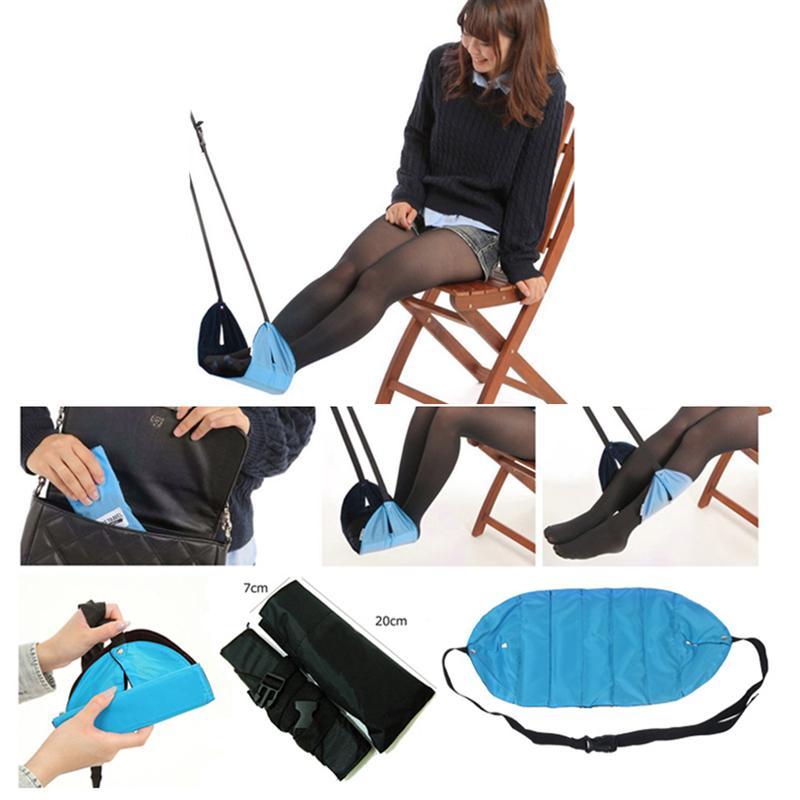 Portable Travel Footrest Flight Carry-on Foot Rest Office Feet Rest Foot Hammock (Blue)