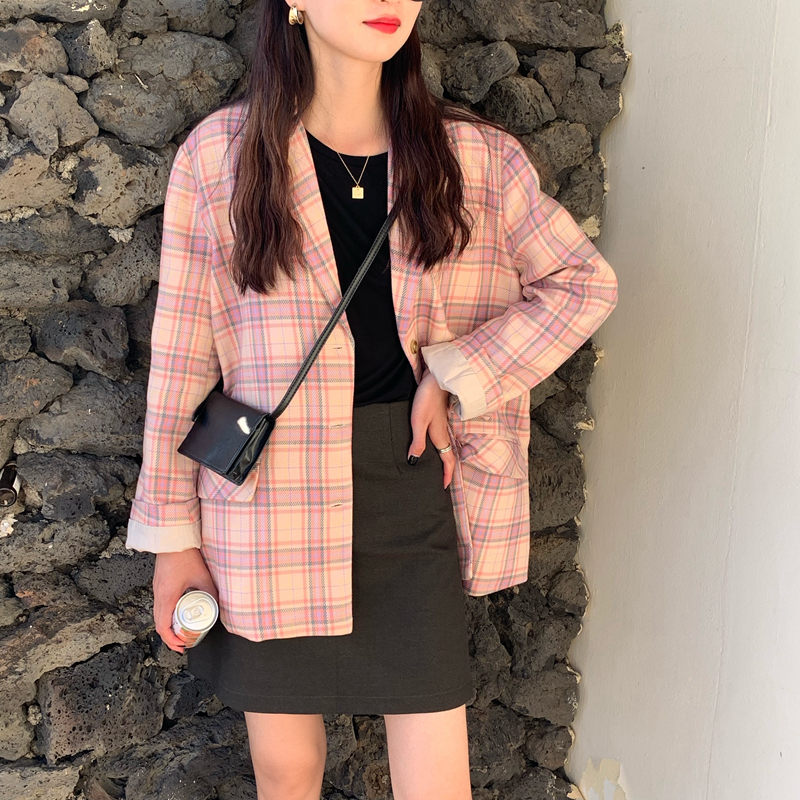 HziriP Women Loose Cute All Match Plaid Simple Brief Chic 2019 Office Ladies Fashion Notched Casual Full Sleeves Blazers 2 Types