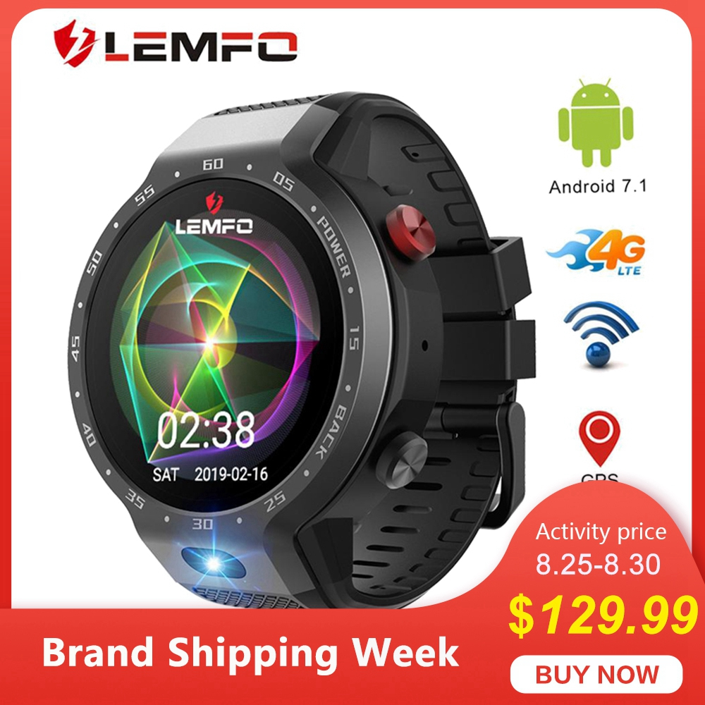 LEMFO LEM9 Dual System 4G Smart Watch Phone Android 7.1.1 1.39 inch 454*454 Display 5MP Camera 600Mah Battery sports Smartwatch smael 1708b