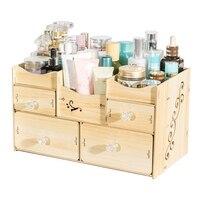 Wooden Makeup Organizer Bathroom Storage Box Jewelry Storage Box Office Desktop Storage Box Sundries Container