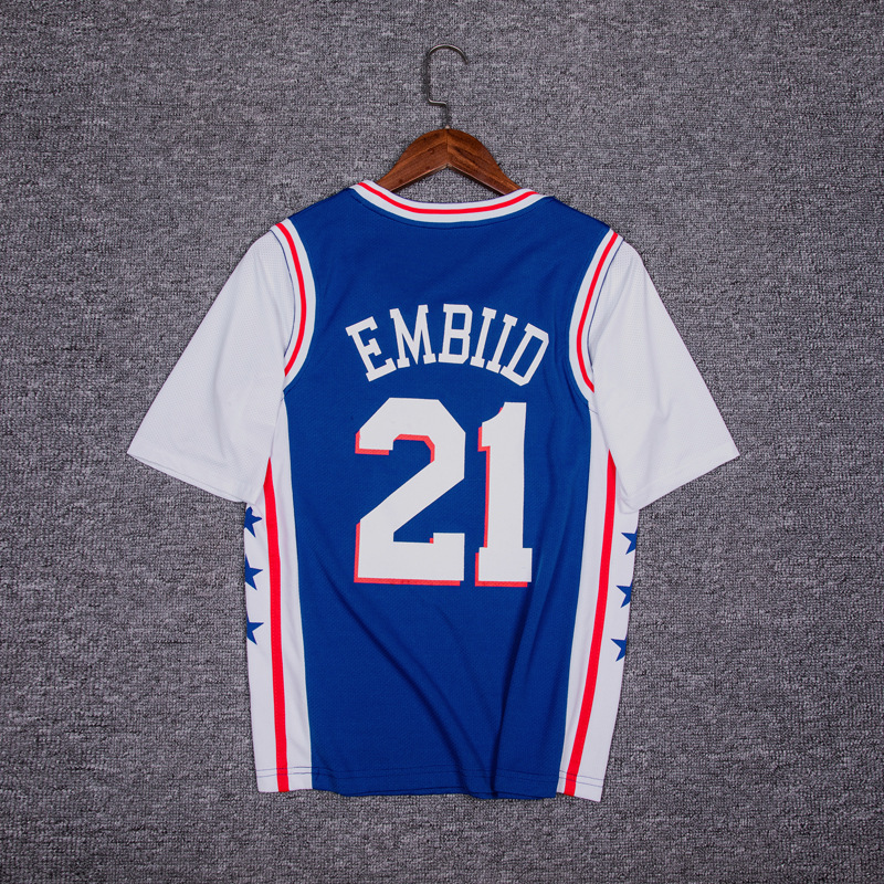 Philadelphia 76ers 21 Embiid Mock Two-Piece Short Sleeve Basketball Clothes Men And Women Wicking Breathable Casual Athletic T-s