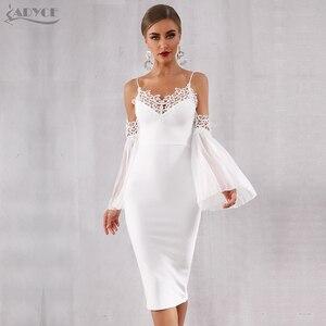 Image 2 - Adyce 2020 nuevo vestido de vendaje de Otoño de las mujeres Sexy Flare manga de encaje blanco Midi Vestidos elegante vestido de fiesta, de noche, de celebridad