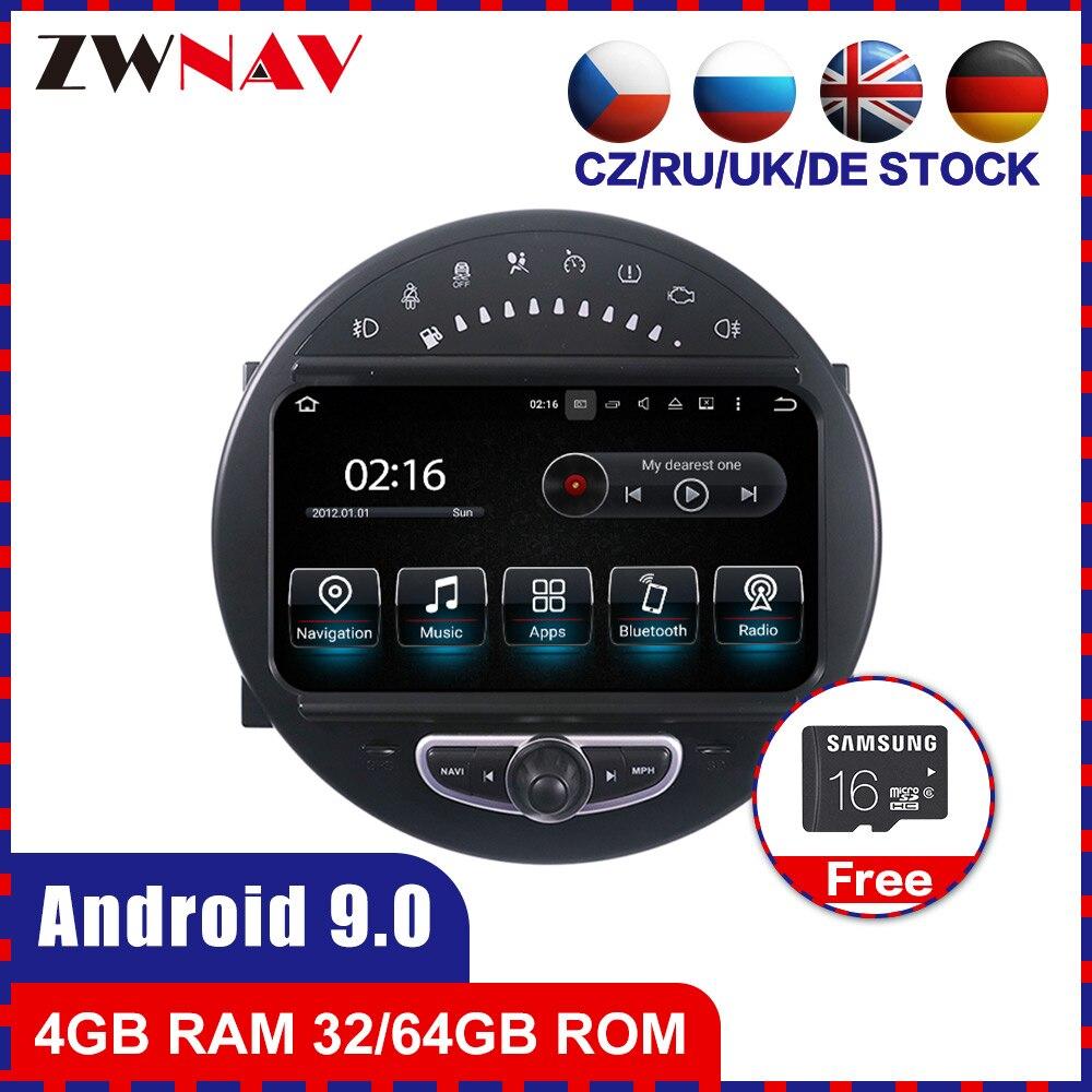 4 + 64 tela de toque android 9.0 carro multimídia player gps áudio para mini cooper 2006-2013 rádio vídeo estéreo unidade de cabeça bt mapa livre
