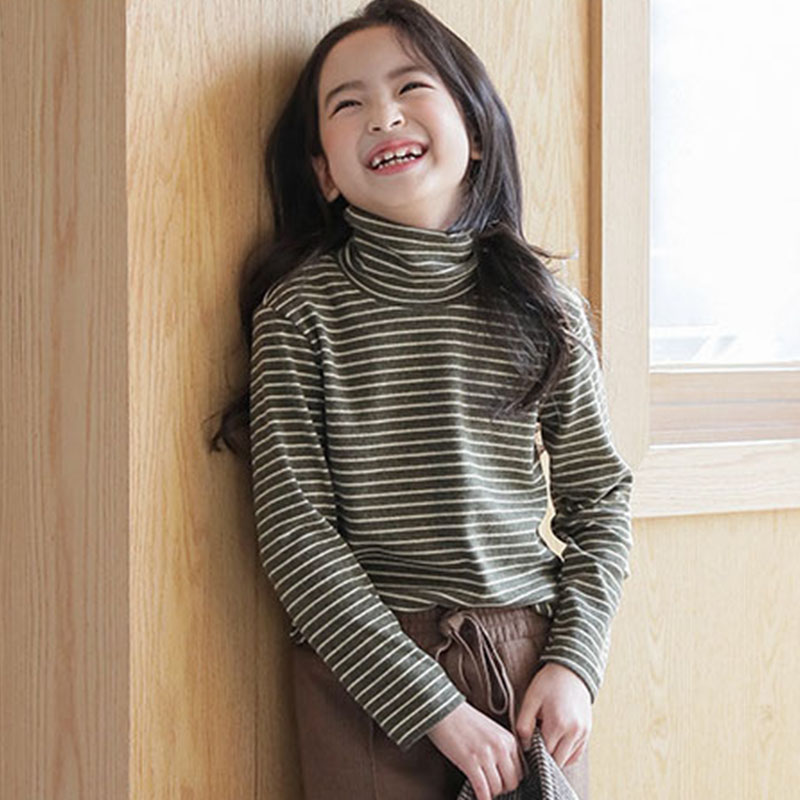 Tops Turtleneck Striped Autumn Clothing Pullover T-Shirts Long-Sleeve Teenage-Girls Kids