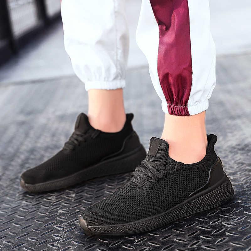 Giày Nam Lưới Thoáng Khí Chạy Bộ Cho Nam Bay Dệt Giày Siêu Nhẹ Đơn Giản Giày Đen Trắng Xám Đỏ giày Thể Thao