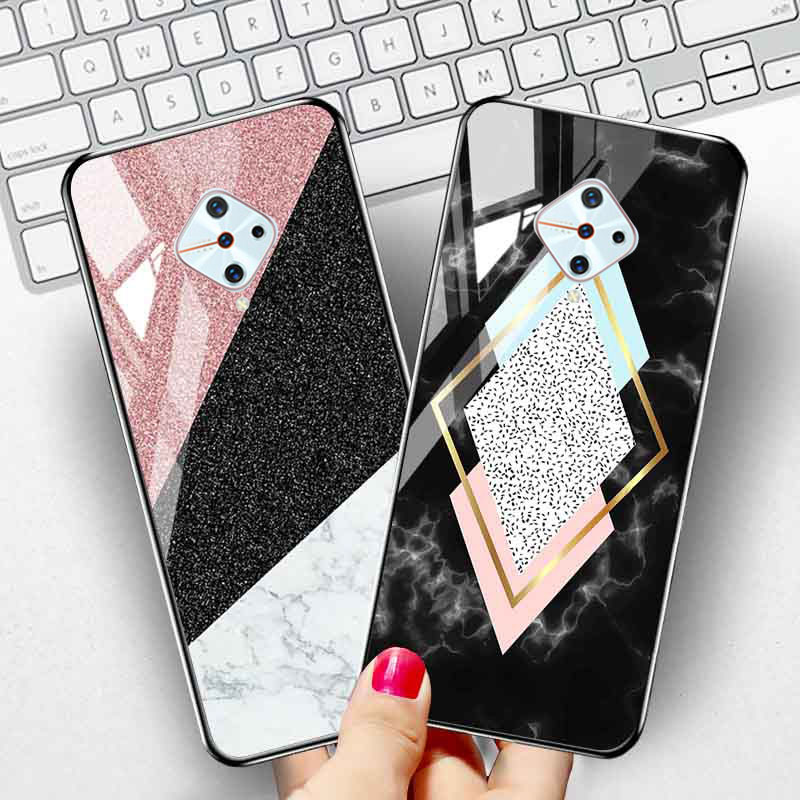 Phone <font><b>Case</b></font> For <font><b>Vivo</b></font> <font><b>V17</b></font> <font><b>Pro</b></font> <font><b>Case</b></font> Marble Tempered Glass Protect Cover For <font><b>Vivo</b></font> <font><b>V17</b></font> S1 V15 <font><b>Pro</b></font> Nex 3 Z5X Y75 Y17 Y81 IQOO Covers image