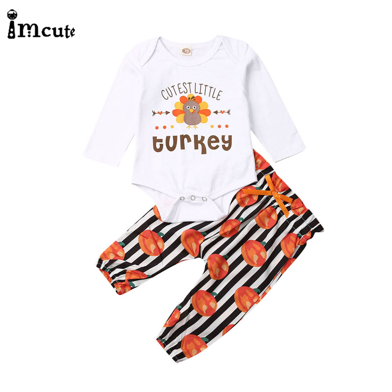 Imcute 2Pcs Infant Newborn Baby Boy Girl Clothing Turkey Letter Long Sleeve Romper Pumpkin Stripe Print Pants Outfits Sets