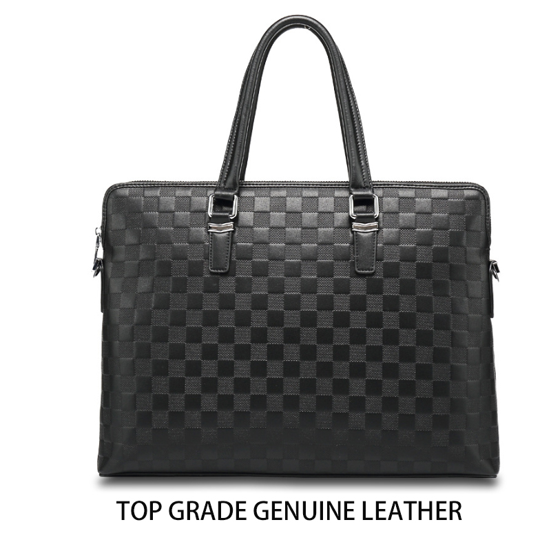 HORIZONPLUS AMERICA AND EUROPE LUXURY  FASHION MEN Deboss PLAID Pattern Genuine Leather  MESSENGER Bag Business  BRIEFCASE