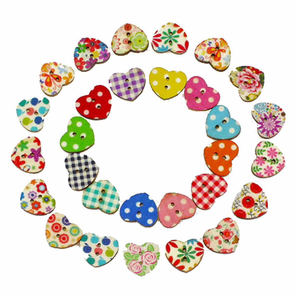 100pcs Multicolor Heart Shaped 2 Holes Wood Sewing Buttons Scrapbooking Craft Buttons for Wedding Birthday Decoration