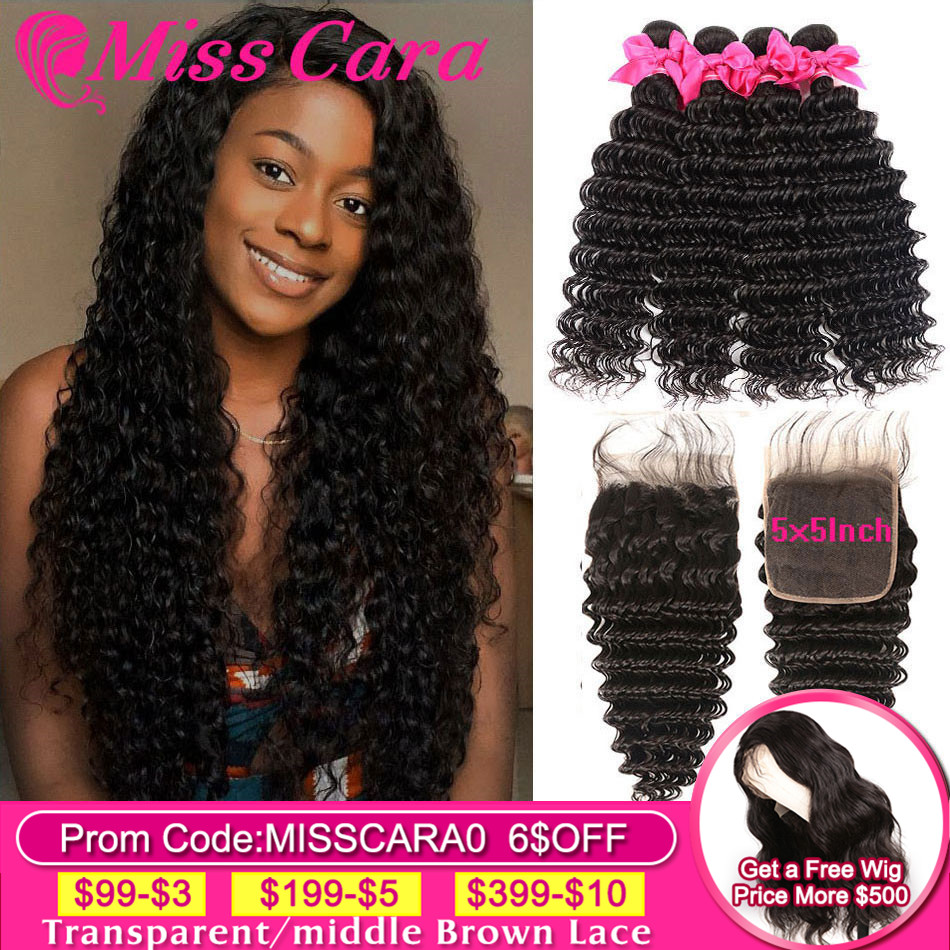 Deep Wave Bundles With 5X5 Closure Miss Cara Peruvian Hair Bundles With Closure 100% Remy Human Hair 3/4 Bundles With Closure