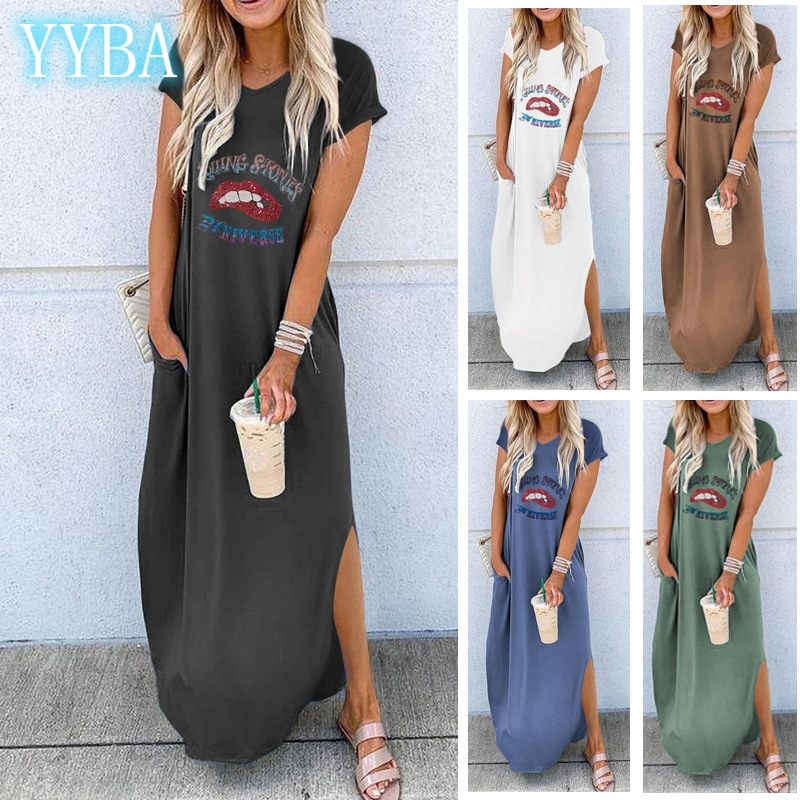 Round Neck Short Sleeved Loose Long Dress Spring And Summer 2020 Streetwear Big Swing Moda Feminina Lounge Wear Clothing