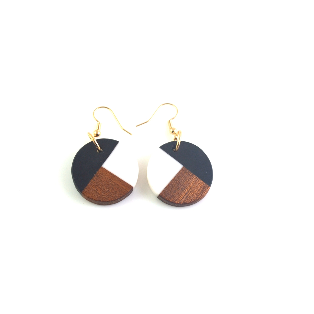 Retro double color matching fashion jewelry women wear gift wood and resin Earrings Japanese rice beads hand-woven Earrings
