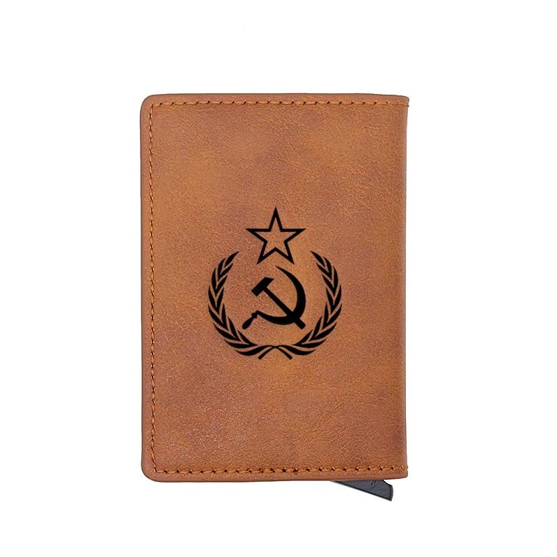 Retro Soviet Sickle Hammer Design Card Holder Wallets Men Women Rfid Leather Short Purse Slim Mini Wallet Small Money Bag