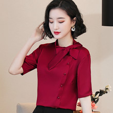 Korean Silk Women Blouses Women Satin Bow Blouse Tops Offfice Lady Short Sleeve Shirt Top Plus Size Blusas Mujer De Moda 2020