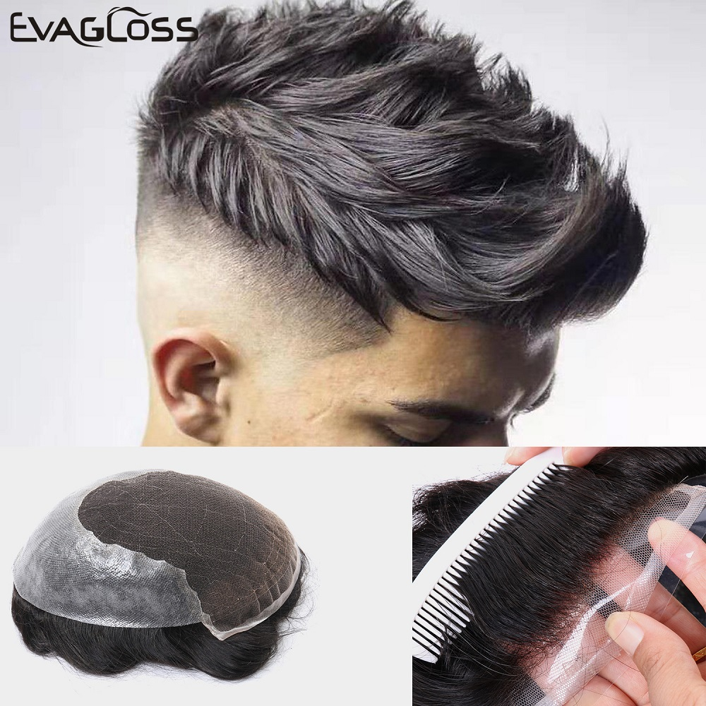 EVAGLOSS Mens Toupee Durable Swiss Lace Thin PU Replacement Hair System For Men Q6 Style Toupee System Human Hair Men's Wig