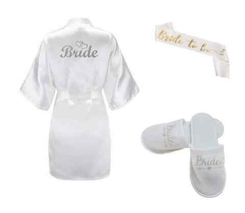 3 PC Set Glitter Emas Bride Satin Pendek Pengantin Jubah Sandal Bridal Ikat Pegtop Trousers Wanita Pesta Pengantin 2019 Kimono jubah
