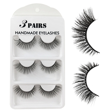 3D faux Mink 3 Pairs Handmade Cross False Eyelashes Beauty Makeup Thick Fake Eye Lashes Extension Tools Eye Cosmetic