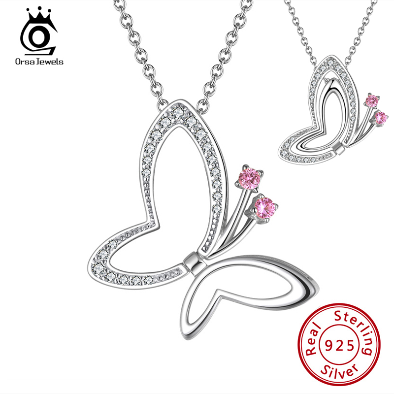 ORSA JEWELS Flying Butterfly 2 Ways Wearing Pendant Necklace Woman Girl Necklace Birthday Gift for Mom Daughter Girlfriend SN293