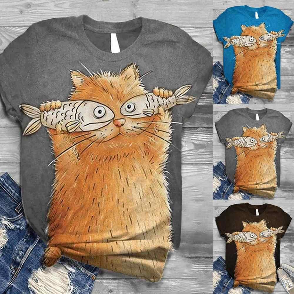 2020 delle donne Del Gatto Del Fumetto Stampato Casual T-Shirt In Cotone Manica Corta Estate Magliette E Camicette Tee O-Collo di Animale Donne di Stampa T Shirt Più formato