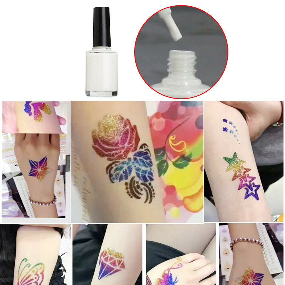 Clear Glitter Powder Tattoo White Gel Flash Powder Tattoo Glue Long Lasting Body Paint Waterproof