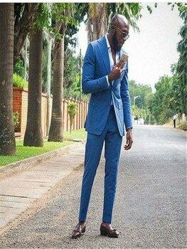 Bespoke Roya Formal Hombres Plus Size XS-5XL Office Business Wedding Party SuitBule Notch Lapel Two Button Men Suits(JacketPant
