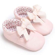 Милая обувь принцессы для маленьких девочек с мягкой подошвой из искусственной кожи для маленьких мальчиков и девочек с бантом; обувь для детей 0-18 месяцев