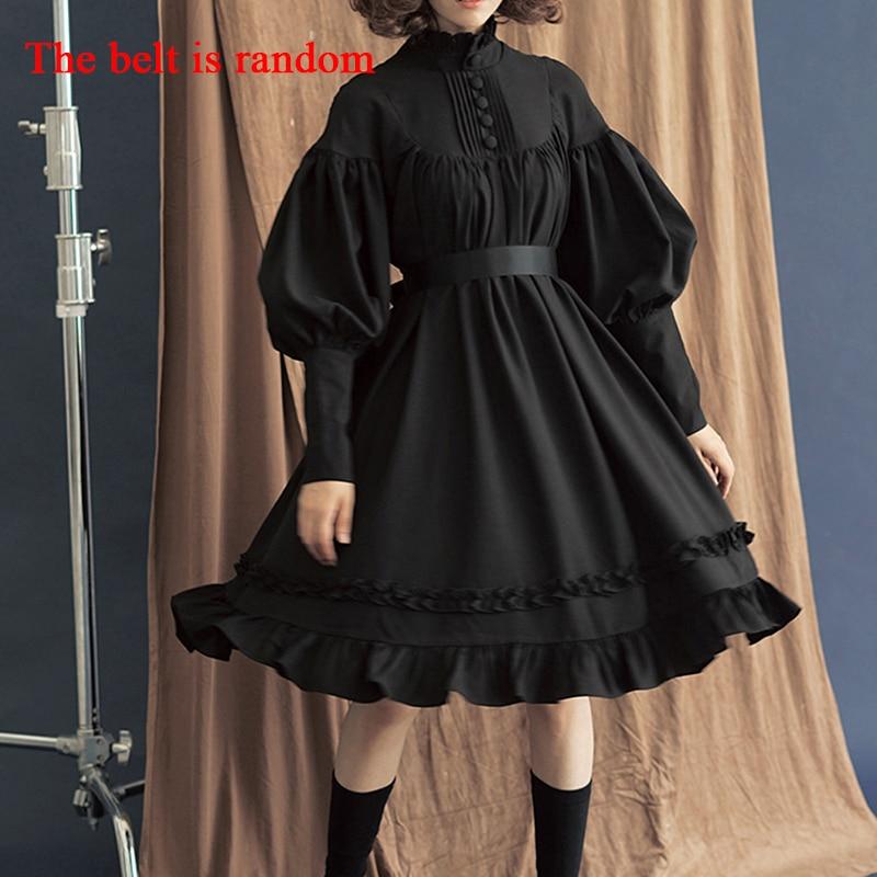 Yeni varış 5 renkler gotik Lolita elbise japon yumuşak kardeş siyah elbiseler pamuk kadın prenses elbise kız cadılar bayramı kostüm