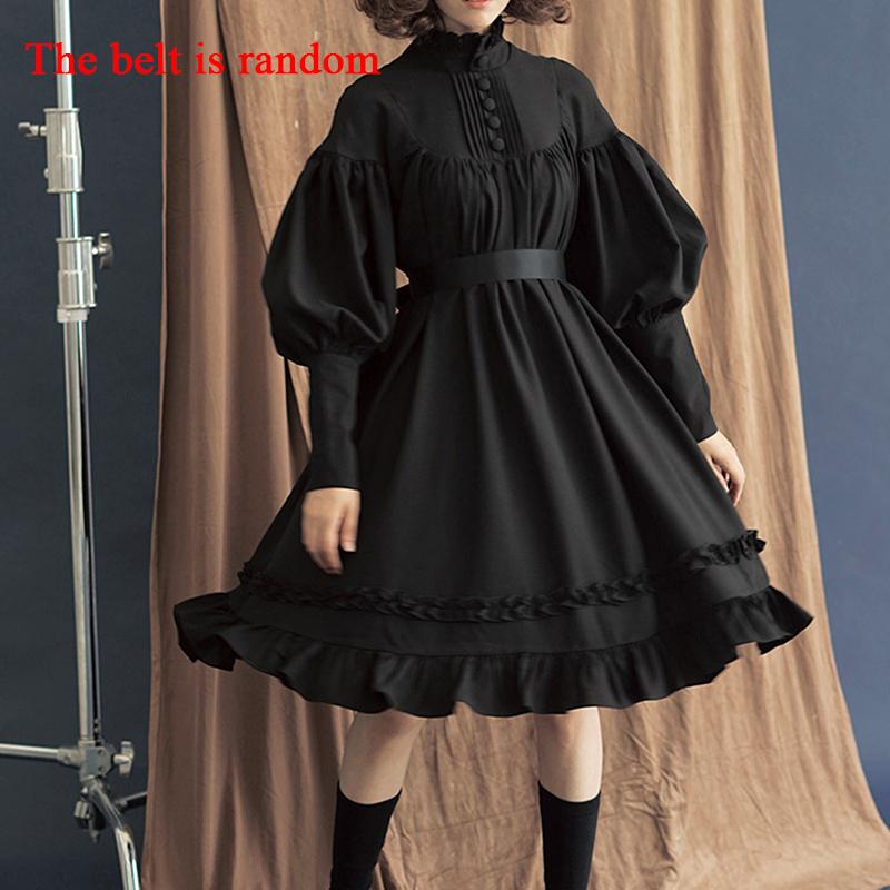 New Arrival 5 Colors Gothic Lolita Dress Japanese Soft Sister Black Dresses Cotton Women Princess Dress Girl Halloween Costume