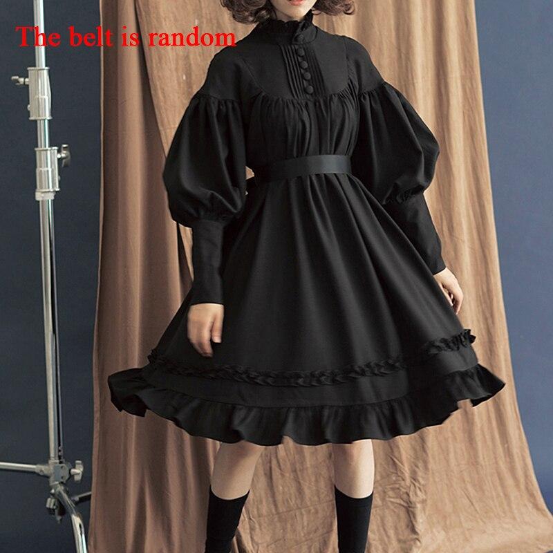 Vestido gótico Lolita en 5 colores, ropa japonesa de tacto suave, vestidos negros de hermana, vestido de princesa de algodón para mujer, disfraz de Halloween para niña
