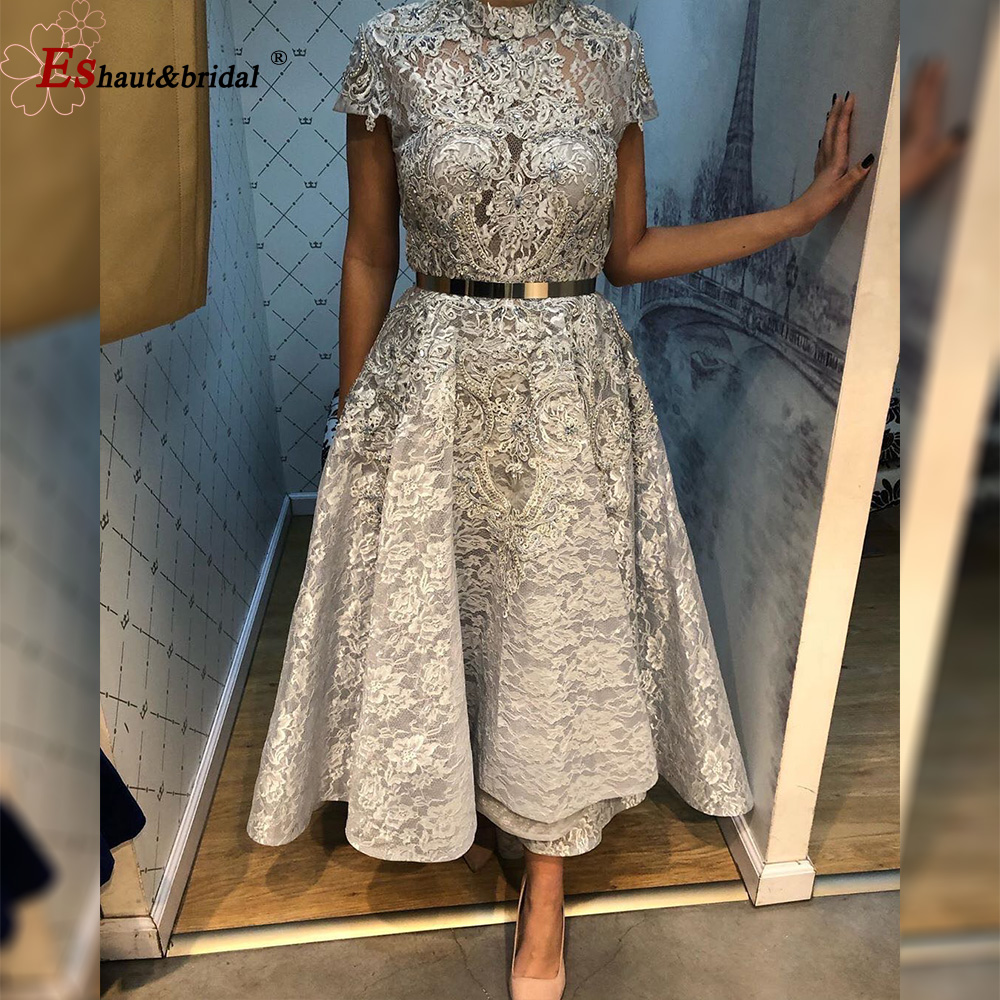 Luxury Silver High Low Evening Dress For Women 2020 High Neck Cap Sleeves Aline Lace Beads Handmade Prom Formal Party Gowns