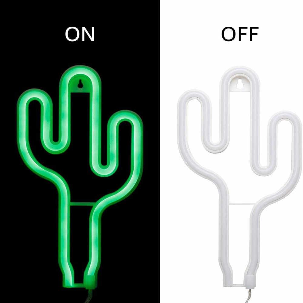 Letreros de luz de neón de Cactus verde, luces LED de decoración con batería y luces de Cactus alimentadas por USB, letreros de neón iluminados para habitación de niños
