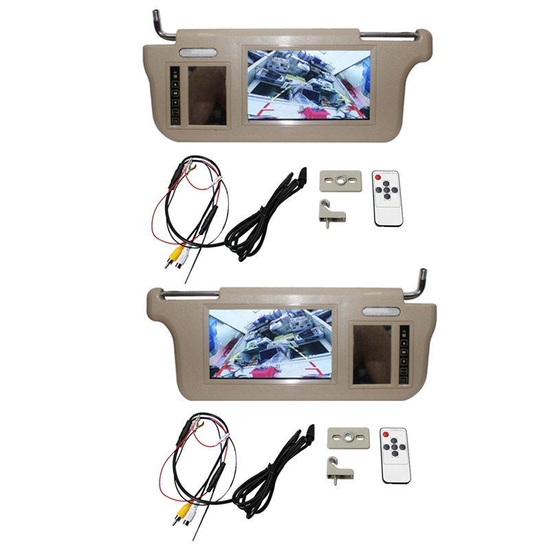 2x 7 Inch Car Sun Visor Mirror Screen LCD Monitor DC 12V Left /Right Side for AV1 AV2 Player Camera image
