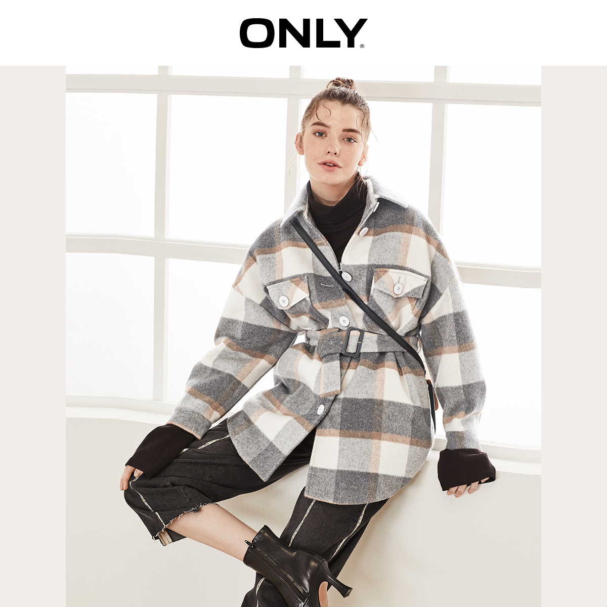 ONLY  Autumn Winter Women's Checked Woolen Coat | 11936T519