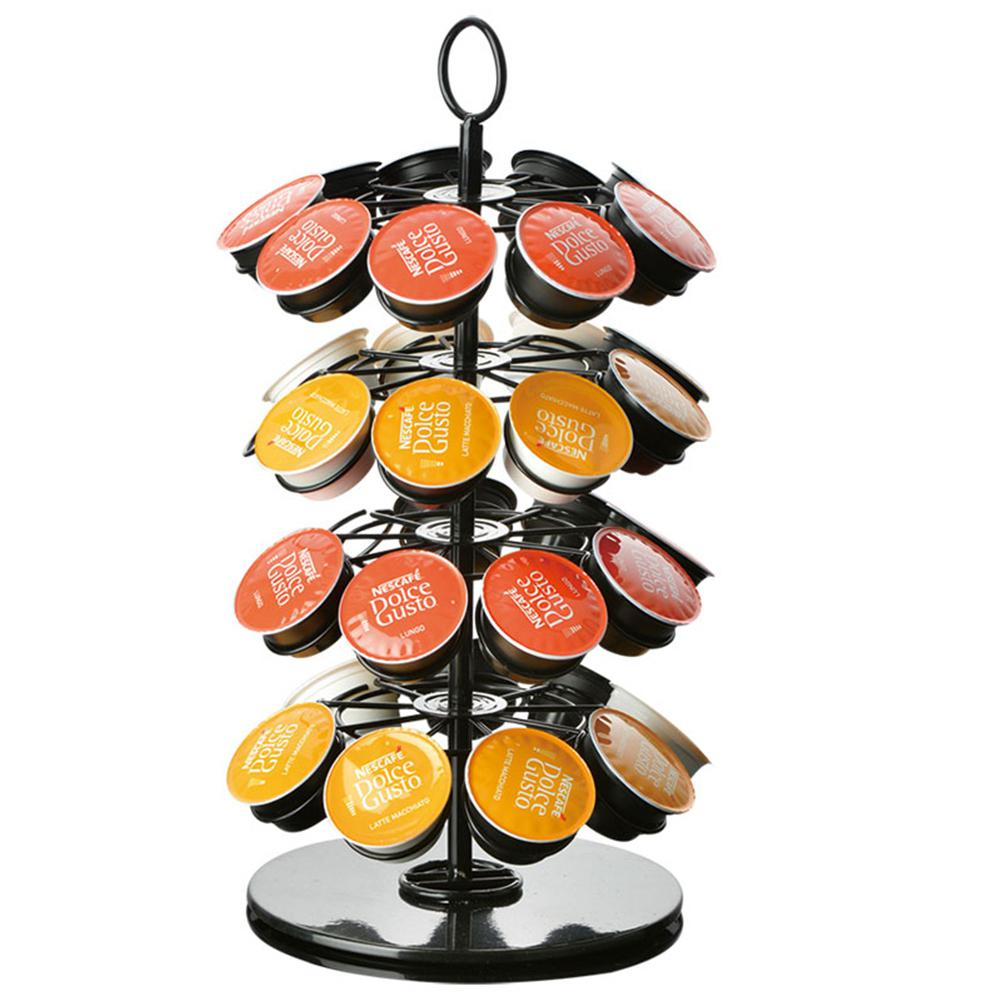 18/24/36 High Quality Metal  Revolving Rotating Coffee Pod Capsule Holder Tower Stand Rack Coffee Capsule Storage Rack stand cap