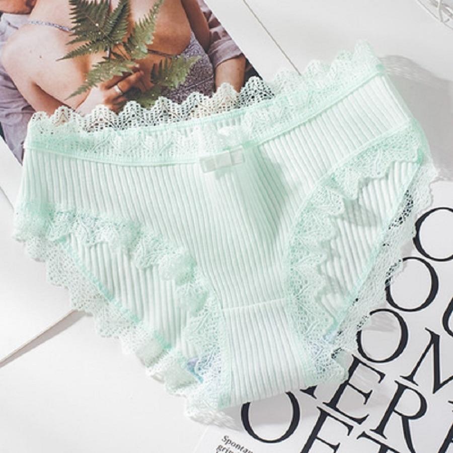 Women Thread Cotton Panties Bow Women's Underwear Solid Color Breathable Low Waist Girls Female Plus Size Lady Briefs 4